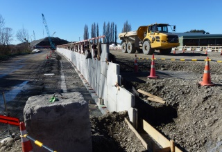 Western Belfast Bypass Christchurch NZ Reinforced Earth® retaining walls with TerraClass® precast concrete facing panels